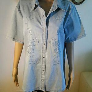 New denim blouse, size XL